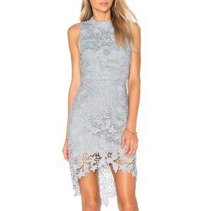 ASTR Samantha Lace Floral Dress Denim Blue Size M